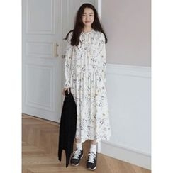 maybe-baby - Round-Neck Floral Print Long Dress