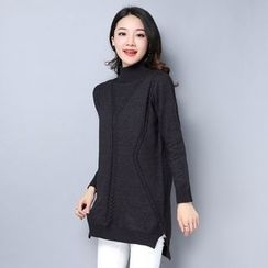 Labbara - Mock Turtleneck Knit Tunic