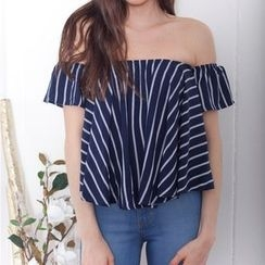 Flobo - Off-Shoulder Striped Cropped Top