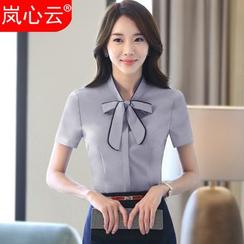 Skyheart - Tie-Neck Short-Sleeve Dress Shirt / + Skirt