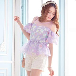 Tokyo Fashion - Cutout Shoulder Ruffled Floral Top