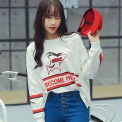 HotBlock - 鲨鱼印花长袖T恤