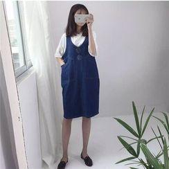 MePanda - Denim Pinafore Dress