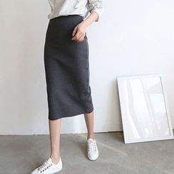 Hello sweety - Slit-Back Knit Skirt