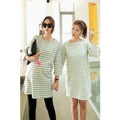 Momnuri - Maternity Square-Neck Stripe Mini T-Shirt Dress