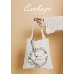 GOROKE - Flower Print Canvas Shopper Bag