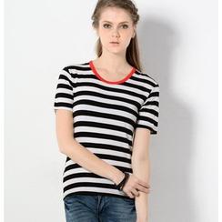 YesStyle Z - Contrast Trim Striped T-Shirt