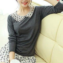 Dodostyle - Crocheted Collar Long-Sleeve Top