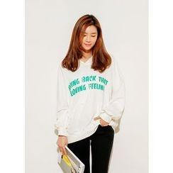 J-ANN - Hooded Lettering Pullover