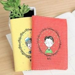 Evora - Printed Linen-blend Card Holder