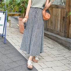clicknme - Drawstring-Waist Patterned Maxi Skirt