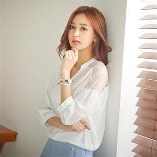 Styleberry - Mandarin-Collar Lace-Yoke Chiffon Blouse