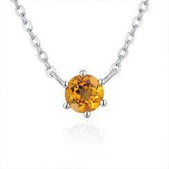 MaBelle - 925 Silver Semi-precious Stone Citrine Necklace 16'