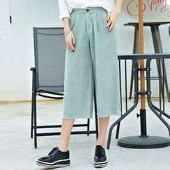 Cobogarden - Plain Capri Wide-Leg Pants