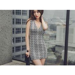 UUZONE - V-Neck Sleeveless Mini Dress