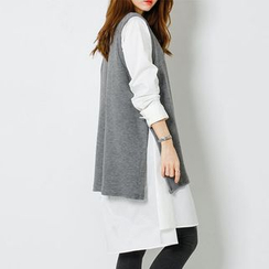 FASHION DIVA - Sleeveless Knit Top Overlay Shirtdress