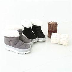 GLAM12 - Faux-Fur Trim Boots