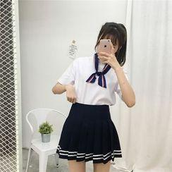 MePanda - Striped Pleated Mini Skirt
