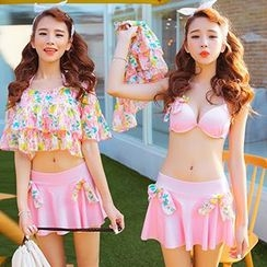 Little Dolphin - Set: Bow Bikini Top + Swim Skirt + Cover-Up