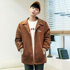 TOMONARI - Lettering Snap-Button Corduroy Jacket