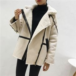 Octavia - 配色邊人造麂皮夾克