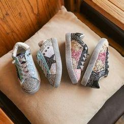 Hambu - Kids Glittered Lace Up Slip-Ons