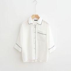 光影紀 - 配色邊七分袖襯衫