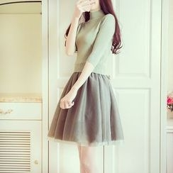 Karussell - Set : Mock-neck Elbow-Sleeve Knit Top + Tulle Skirt