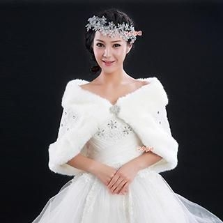 QS Bride - Faux Fur Lace Bridal Shawl