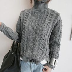 NANING9 - Wool Blend Turtleneck Cable-Knit Sweater