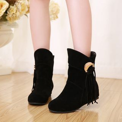 Shoes Galore - Fringed Hidden Wedge Ankle Boots