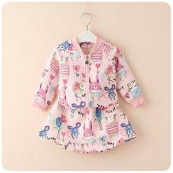 Rakkaus - Set: Printed Jacket + A-Line Skirt