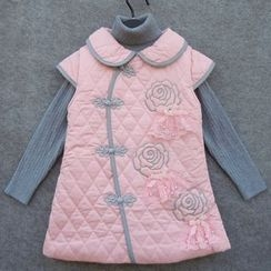 Lotus Seed - Kids Set: Sleeveless Padded Cheongsam + High Neck Sweater