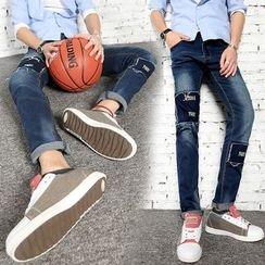 Denimic - Patchwork Fleece Lined Straight-Cut Jeans