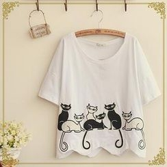 Fairyland - Cat Appliqué T-Shirt