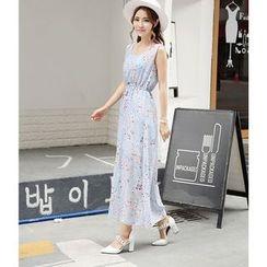 Emeline - Sleeveless Floral Maxi Sun Dress