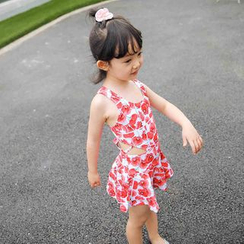 Goldlyre - Kids Floral Print Cut Out Detailed Swimdress
