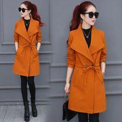 Sienne - Tie Waist Woolen Long Coat