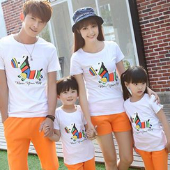 Igsoo - Parents and Kids Zebra Print T-Shirt