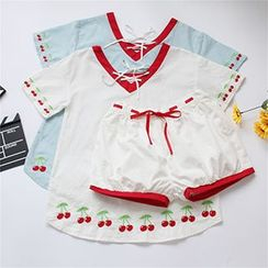 Genki Girl - Set: Cherry Embroidered Lace-Up Short-Sleeve T-Shirt + Shorts