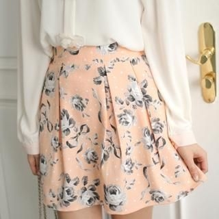 Styleberry - Floral Print Pleated A-Line Skirt