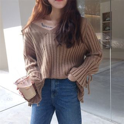 VeryBerry - Ribbed V-Neck Knit Top