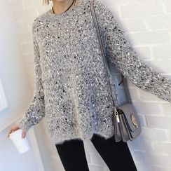 DANI LOVE - Glittered Waffle-Knit Sweater