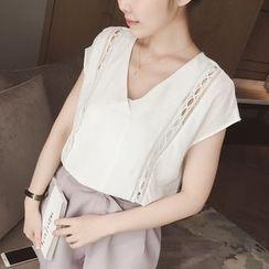Munai - Short-Sleeve Lace-Panel Top