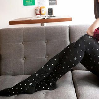 Snowflake-Print Dotted Tights