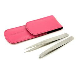 Tweezerman - Petite Tweeze Set: Slant Tweezer + Point Tweezer - (With Pink Case)