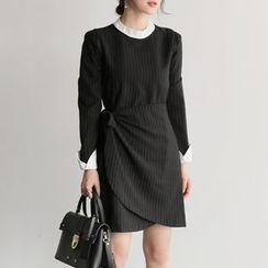 UPTOWNHOLIC - Frilled-Trim Striped Dress