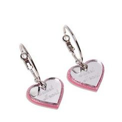 Sweet & Co. - Pink Glitter Sweet Heart Mirror Hoop Earrings