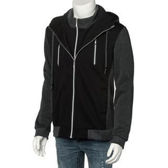 Free Shop - Layered Placket Hooded Zip Jacket