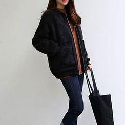 Yohana - 仿麂皮夹棉外套
